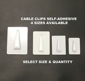 Cable Clips Self adhesive White Coated Steel Backing Plate Wire Cable All 4 Size