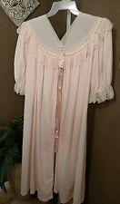 Vintage Pink Nylon & Lace Robe BEAU MONDE by MAX SCHWARTZ Lingerie Size M