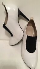 Topshop White & Black Leather Stiletto Shoes Size 6/39 FREEPOST