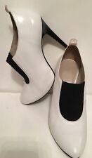 Topshop Blanco Y Negro Cuero Stiletto Zapatos Talla 6/39 Freepost