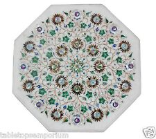 """18"""" White Marble Coffee Table Top Real Jasper Inlay Stones Outdoor Decorative"""