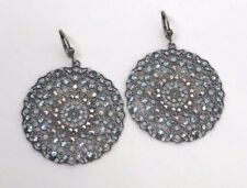 La Vie Parisienne Catherine Popesco Large Lacy Silver Round Crystal Earrings
