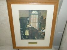 "Norman Rockwell Lithograph ""Marriage License"" Large Wood Framed 18x22 NameTag"