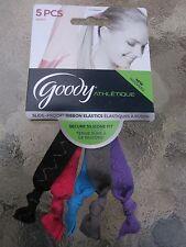 Goody Slide Proof  Ribbon Elastic Ponytail Holders 5 Pack Multi-Colored NEW 6901