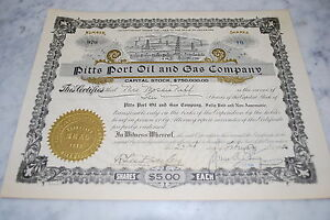 Stock Certificate - PITTS PORT OIL AND GAS COMPANY – DELAWARE 1920