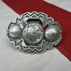 2000's Buffalo Nickel Indian Head Belt Buckle EMI Solid Pewter Made in USA