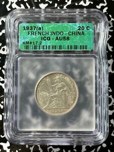 1937-A French Indo-China 20 Centimes ICG AU58 Lot#BB88 Silver!