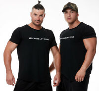 MENS GYM T-SHIRT TEE BODYBUILDING FITNESS SPORTS ACTIVE TOP  SELF MADE LIFT WEAR
