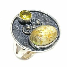 Fossil Coral, Citrine Gemstone Handmade Ethnic 925 Sterling Silver Ring Size 7