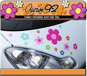 Multi Coloured Daisy Car Stickers - Pack of 30