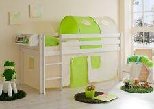 Lit mezzanine MALTE pin teinté blanc tissus Beige-Vert