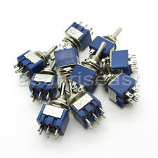 100PCS Mini Toggle Switch DPDT ON-OFF-ON Three Position Blue 6A 125V 3A 250V