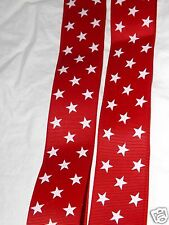 "Red STAR Printed Ribbon, 1.5"", Patriotic, July 4th, Boutique Hair Bows, Wreath"