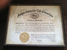 1981 ANTIQUE AUTOMOBILE CLUB OF AMERICA CERTIFICATE OF MEMBERSHIP FRAMED