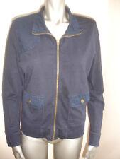 RALPH LAUREN JACKET BLAZER  size L BLUE ZIPPER Lightweight 100% COTTON BEAUTIFUL