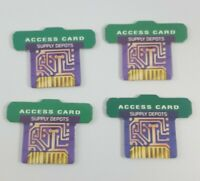 The Omega Virus Game Replacement Parts - 4 Green Access Cards Supply Depots