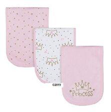 Gerber Baby Girl 3-Piece Pink Princess Burp Cloths Adorable!
