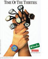 PUBLICITE ADVERTISING 046  1988  les montres Bulova  pour United colors Benetton