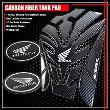 "FOR CBR FAIRING/FENDER BADGE CHROME+10"" REAL CARBON FIBER GAS TANK PAD PROTECTOR"