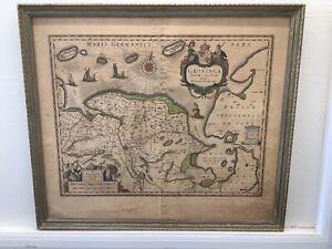 """C. 1660 Willem Blaeu Map Of Groningen Netherlands 20.5 x 23.75"""" Rare Framed"""