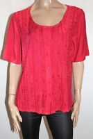 Sari Brand Red Embroidered Short Sleeve Blouse Top Size S BNWT #TU73
