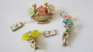 Spille floreali in argento placcato e vetro di Murano