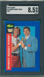 SGC 8.5 NM-MINT+ ROWDY RODDY PIPER VINCE MCMAHON 1991 CLASSIC WWF #87 *V-TPHLC