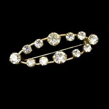 Vintage ART DECO REVIVAL Rhinestones Brooch Pin Open Oval Prong Set Classy
