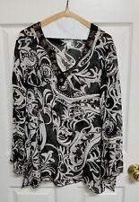 Chico's Size 2 Black White 100% Silk Beaded Neckline Sheer Blouse Side Slits EUC