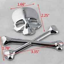 Stainless Silver Skull Head & Cross Bone Logo Emblem Car SUV Decal 3M Sticker