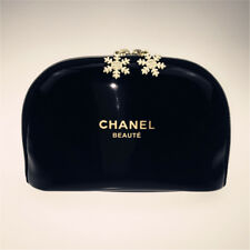 New Chanel Black SnowFlake Cosmetic PU Makeup Case/Bag Toiletries Clutch