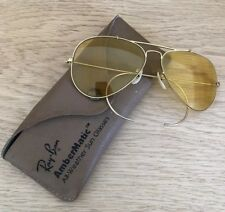 VINTAGE Genuine B&L RAYBAN ALL WEATHER AMBERMATIC AVIATOR SUNGLASSES