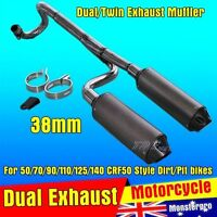 Twin Exhaust Pipe 38mm CNC Alloy Muffler 125cc 140cc 150cc PIT PRO DIRT BIKE