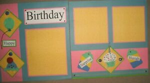 BIRTHDAY Happy Surprise Cupcake 12 x 12 K&Co Premade Scrapbook Designed Pages