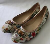 GUCCI ~ Authentic Floral Botanical Print Ballet Flats w Bamboo Buckle 8.5B 39