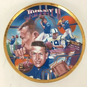 Johnny Unitas Signed NFL Superstar Gold Vtg 1992 Limited Edition Collector Plate