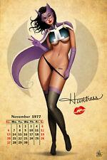 Nathan Szerdy SIGNED DC Comics Batman Art Pinup Print ~ Huntress Calendar Girl