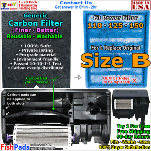 For Fish Tank Power Filter 110,125,150 Size B Cartridge Compatible Carbon Filter