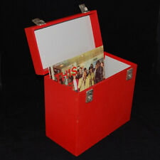 "Vintage Record Case for Vinyl LP 12"" Albums (Storage Carry Box) Red Retro"