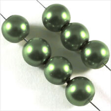 30 pearls Pearly 8mm Green Olive mirror of Bohemian