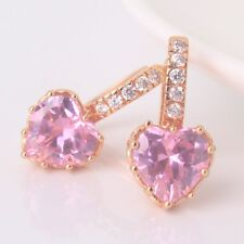 Style earring! 18k gold filled pink sapphire Engagement lady leverback earring