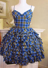BETSEY JOHNSON PLAID TIERED & RUFFLED COCKTAIL PARTY DRESS~2 **SALE**