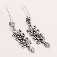925 Sterling Silver Statement Earrings Women Handmade Vintage Fine Jewelry Gifts