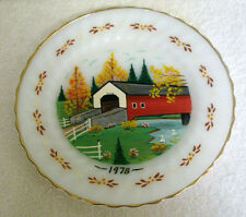 Vintage ANCHOR HOCKING Decorative Plate Covered Bridge Oven Proof 1978