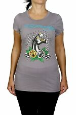 "Ed Hardy Women's T-shirt, ""Panther"" Gray, Size Small  100% Cotton"