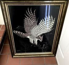"Vintage Richard Reid Mason Scratch Painting ""American Eagle"" Signed"