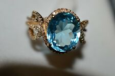 14K YELLOW GOLD BLUE TOPAZ* RING*OVAL* DIAMONDS*MICRO PAVE* ELEGANT AND UNIQUE