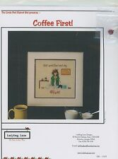Ladybug Lane - Coffee First w/ Ladybug button  Cross Stitch Pattern