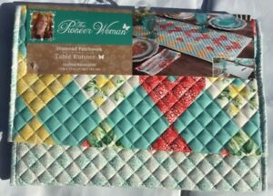 "NEW Pioneer Woman Table Runner Diamond Patchwork Teal Yellow Red Green 72"" X 14"""