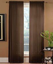 "Miller Curtains Sheer Preston Rod Pocket 52"" x 108"" Window Panel Brown"